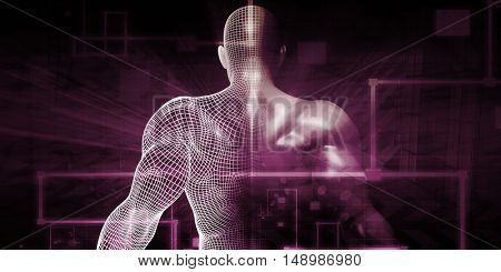 Digital Technology with Humanoid as a Futuristic Concept 3D Illustration