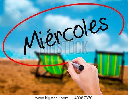 Man Hand Writing Mi�©rcoles (wednesday In Spanish) With Black Marker On Visual Screen