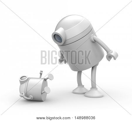 Robot father looks on the whims of the son. 3d illustration