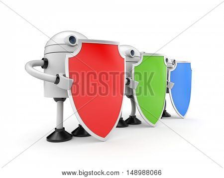 Three robots with shields. 3d illustration