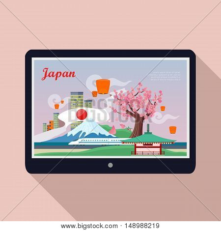 Japan landmark on tablet screen. Welcome to Japan. Japan tourism poster design with attractions. Japan travel poster design in flat with long shadow. Travel composition with famous landmarks.