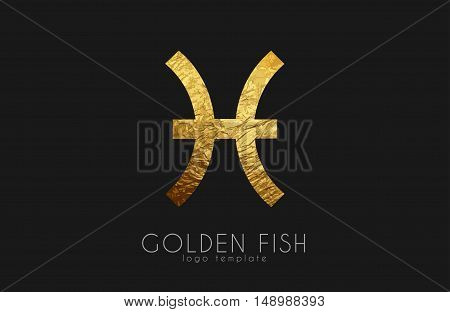 Golden fish. Golden zodiac sign. Fish zodiac