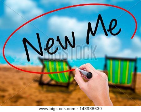 Man Hand Writing New Me With Black Marker On Visual Screen