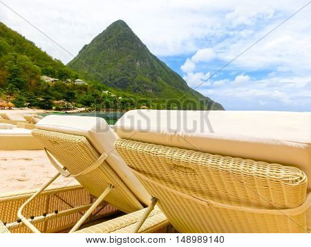 Beautiful white sand beach in Saint Lucia, Caribbean Islands and beach beds