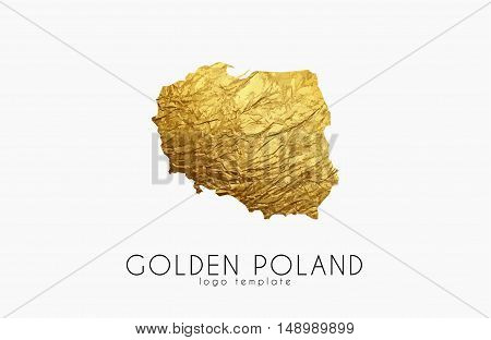 Poland map. Golden Poland logo. Creative Poland logo design