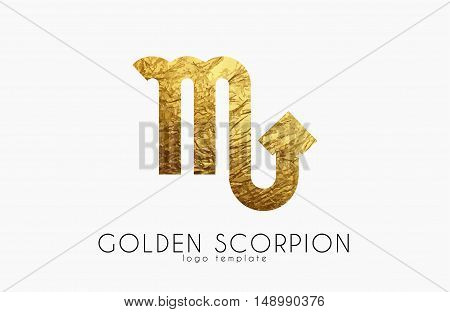 Golden scorpion. Golden zodiac sign. Scorpion zodiac