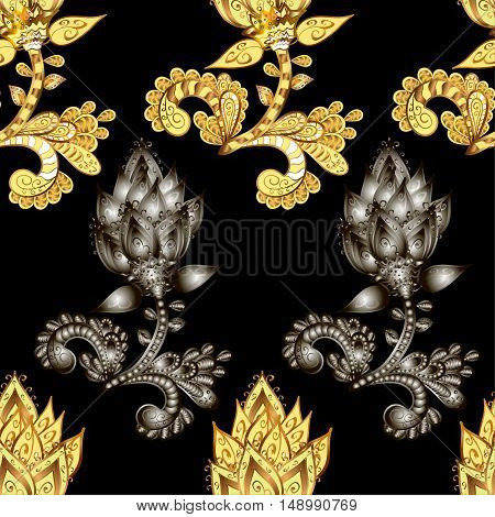 Rich delicate sumptuous seamless background pattern with golden and silver contour stylized flowers isolated on the black fond. Vector illustration