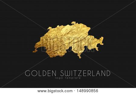 Switzerland map. Golden Switzerland logo. Creative Switzerland logo design