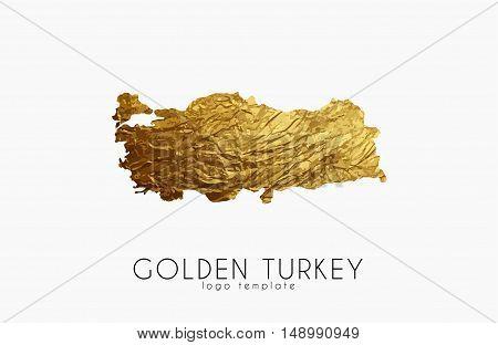 Turkey map. Golden Turkey logo. Creative Turkey logo design