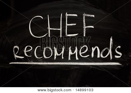 Chef's suggestion - writings on the blackboard with chalk poster