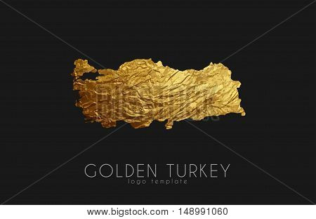 Turkey map. Golden Turkey logo. Creative Turkey logo design
