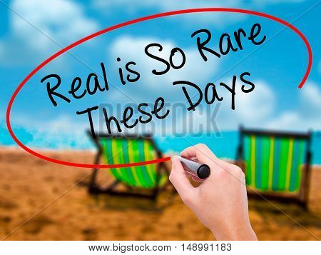 Man Hand Writing Real Is So Rare These Days With Black Marker On Visual Screen.