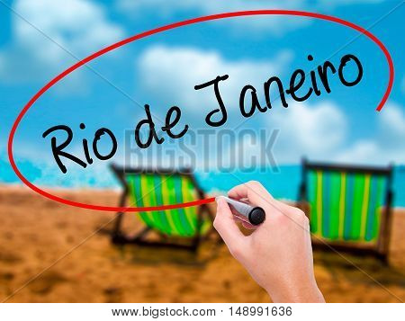 Man Hand Writing Rio De Janeiro With Black Marker On Visual Screen