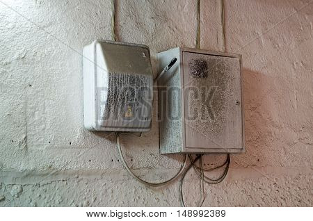 The junction box on a concrete wall