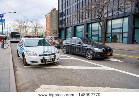 NEW YORK - CIRCA MARCH, 2016: NYPD patrol car.The New York City Police Department (NYPD or NYCPD) is the largest municipal police force in the United States.