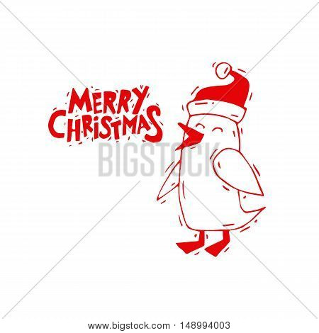 Merry Christmas and Happy New Year. Penguin in Christmas hat. Xmas Poster, banner, printed matter, greeting card. Lettering, calligraphy. Hand-drawn, lino-cut. Flat design vector illustration.