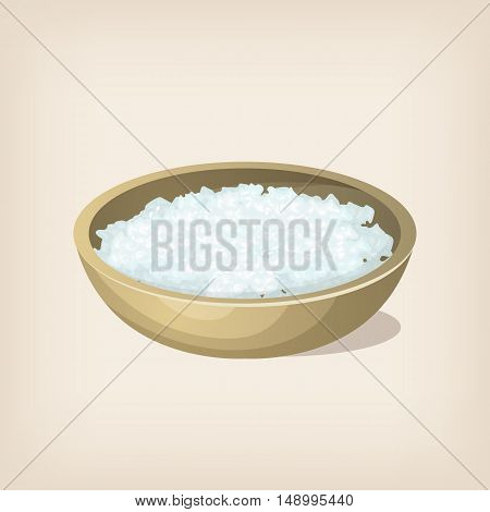 Sea salt flakes in a bowl. Vector illustration.