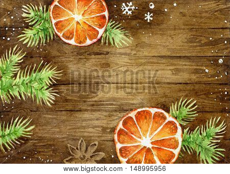 Bright New Year card with space for your text. Oranges and fir branches on a dark wooden background. Watercolor illustration