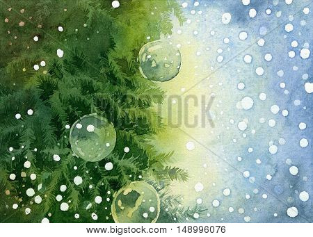 Christmas background with place for your text. Bright green fir tree branches decorated balls on light blue background. Watercolor illustration