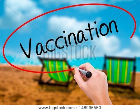Man Hand Writing Vaccination  With Black Marker On Visual Screen