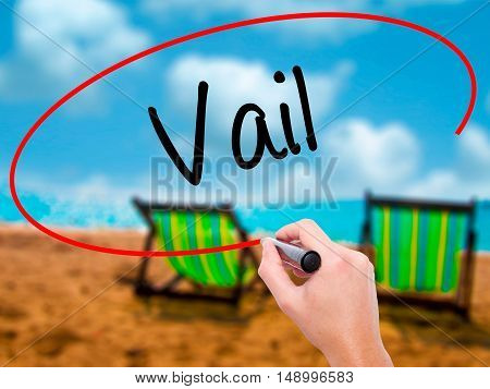 Man Hand Writing Vail  With Black Marker On Visual Screen