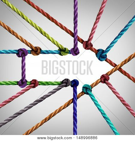 Success arrow connection and central network achievement as a business concept with a group of diverse ropes connected to a center as a metaphor for connectivity growth and succeeding in linking to a centralized support structure.