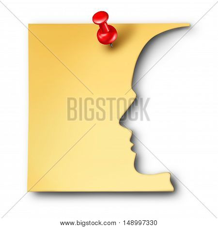 Office worker reminder as an employee symbol cut out of a business note as a corporate career thinking symbol or a mental health icon for memory loss or medical neurology issues as a 3D illustration.