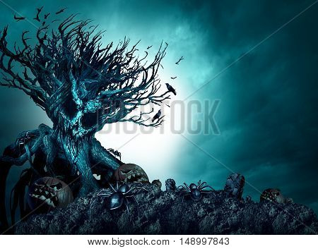 Halloween creepy background haunted ghost tree at night as an old growth plant shaped as a monster skull with pumpkins and spiders as a scary blue autumn cemetery scenery as a horror theme with 3D illustration elements.