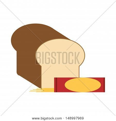flat design bread and pasta packet  icon vector illustration
