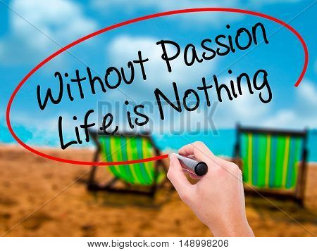 Man Hand Writing Without Passion Life Is Nothing  With Black Marker On Visual Screen