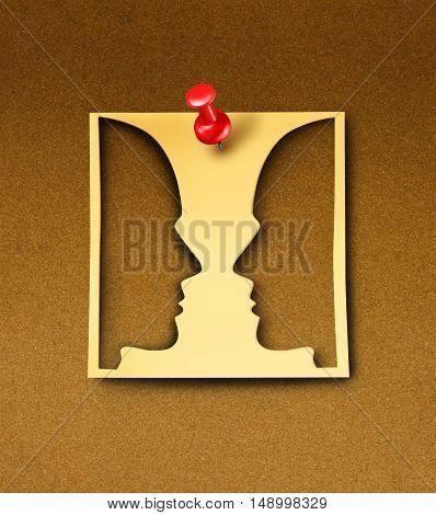 Business agreement face to face discussion concept as a yellow office note with a thumb tack pin on a bulletin board with people head icons cut out of the paper as a working place metaphor for employee or manager communication with 3D illustration element