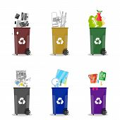 Waste management. Waste segregation. Separation of waste on garbage cans. Sorting waste for recycling. Colored waste bins with trash. Metal, glass, e-waste, plastic, paper, organic. flat vector poster