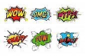 Comics bubbles for emotions and explosions. Exclamations clouds for wow and omg, wtf and snap, bomb bang or boom explosion. Great for cartoon book or danger, pop dialog and burst theme poster