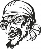 Old-Time filibuster pirate captain head. Vector illustration. poster