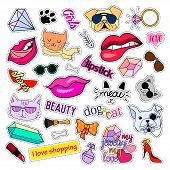 Fashion patch badges. Cats and dogs set. Set of stickers, pins, patches and handwritten notes collection in cartoon 80s-90s comic style. Trend. Vector illustration isolated. Vector clip art. poster