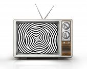 Television as influential mass media - hypnotic spiral on the screen. Metaphor of mind control propaganda brainwashing and manipulation caused by watching TV and mainstream broadcasting. Retro TV. 3d illustration poster