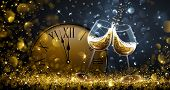 Twelve o'Clock on New Year's Eve with champagne and bokeh effects. Vector illustration poster