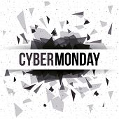 Cyber Monday icon. ecommerce sale decoration and advertising theme. Black and white design. Vector illustration poster