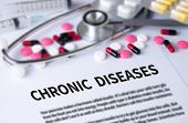 CHRONIC DISEASES and Background of Medicaments Composition Stethoscope mix therapy drugs doctor and selectfocus poster