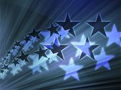 Abstract geometric wallpaper background of flying stars poster