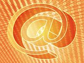 The At internet symbol, digital collage illustration of data transfer poster