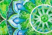 Closeup Of Bright Green Painted Picture With Circle Pattern, Mandala Of Anahata Chakra poster