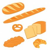 Loaf of bread pigtail bread pretzel toast bread croissant and french baguette vector illustration. Different kinds of bread vector icon poster
