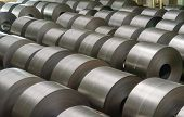 Cold rolled steel coil at storage area in steel industry plant. poster