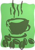 Illustration of a cup of coffee, rough hand-drawn sketch poster