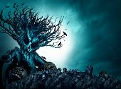 Halloween creepy background haunted ghost tree at night as an old growth plant shaped as a monster skull with pumpkins and spiders as a scary blue autumn cemetery scenery as a horror theme with 3D illustration elements. poster