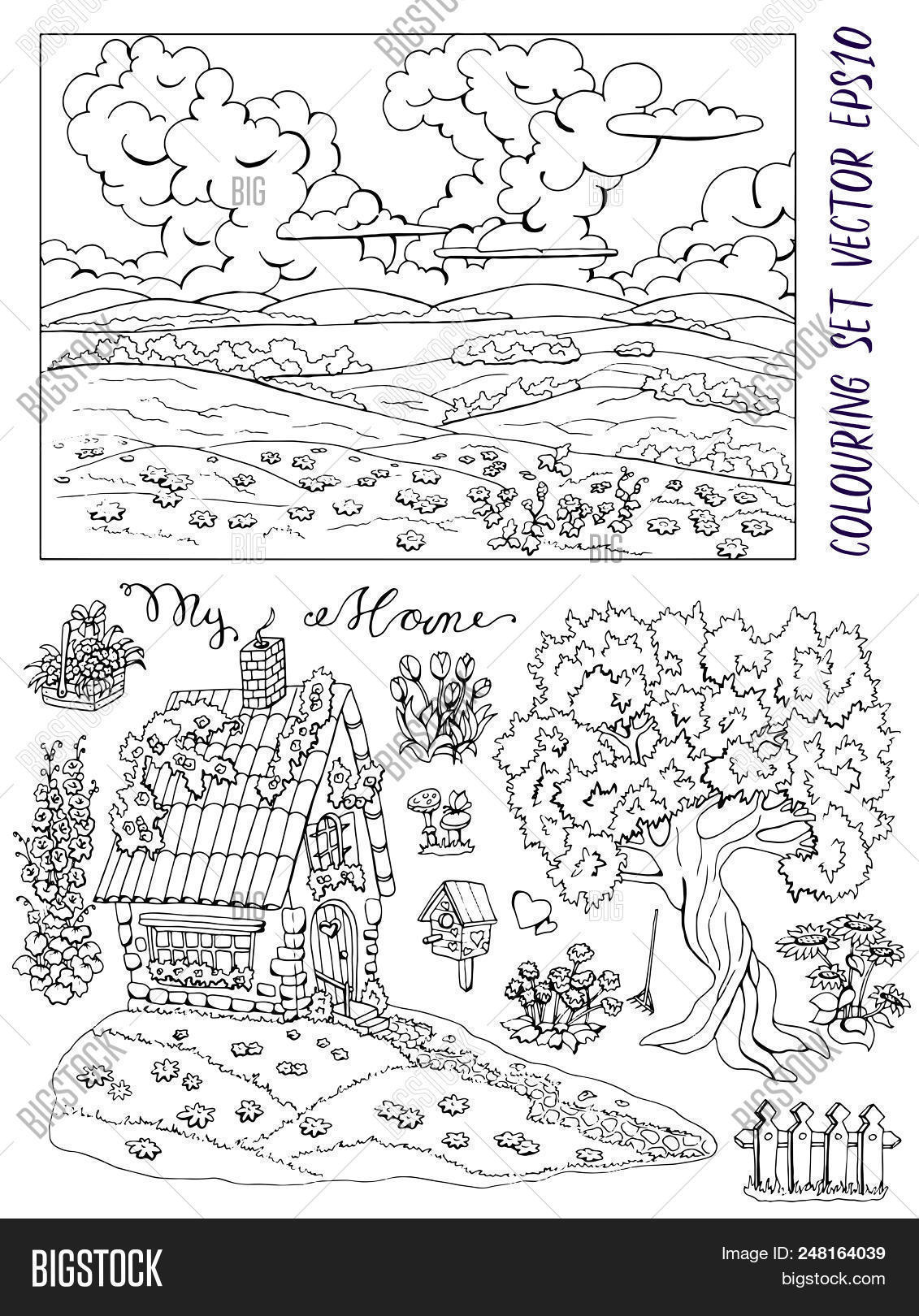 Coloring Page With Small Country Cottage Tree Flowers Landscape And Bird House