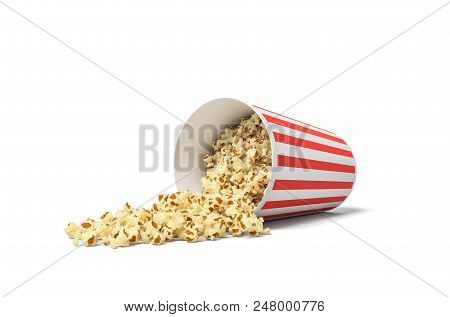 3d Rendering Of A Round Striped Popcorn Bucket Lying On Its Side With Popcorn Spilling Out Of It. Mo
