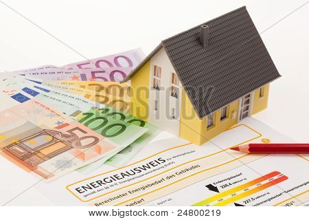 certification for single family, austria. with cutbacks and model house poster