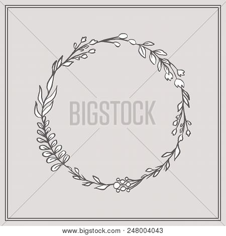 Doodle Floral Wreath - Beautiful Floral Wreath. This Design Has Lush Flowers And Foliage, And Were S